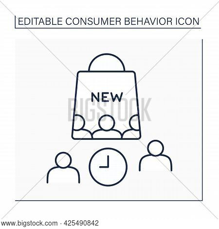 Laggards Line Icon. Consumer Groups Avoid Change And Are Not Willing To Adopt New Products. Waiting.