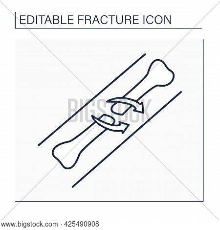 Spiral Fracture Line Icon, Fractures Of Long Bones From Rotational Force Applied To Bone. Healthcare