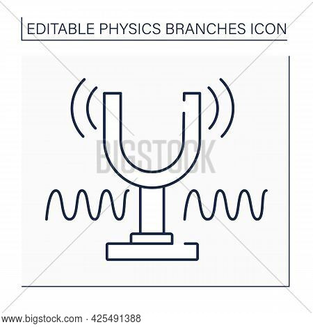 Sound And Waves Line Icon.oscillation In Pressure, Stress, Particle Displacement, Particle Velocity.