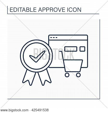 Approve Order Line Icon. Online, Offline Shopping. Pending Shopping Cart Requests And Approve Entire