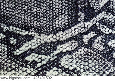 Texture Of Genuine Leather Close-up, Imitation Of Exotic Reptile, Exotic Background