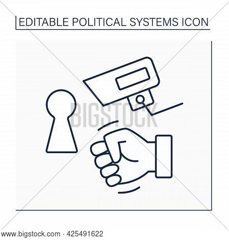 Totalitarian Regime Line Icon.total Control Economy, Censorship, Surveillance, Limited Freedom Of Mo