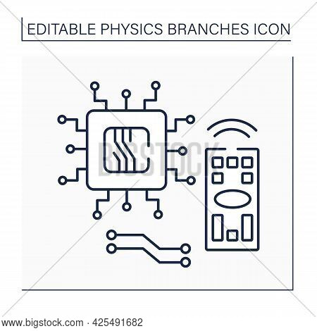 Electronics Line Icon. Device To Control Electron Flow By Amplification And Rectification. Transisto