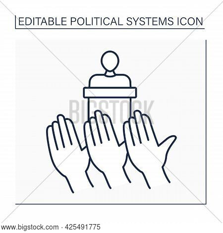 Democracy Line Icon.government Form.power Vested In People. Exercised Directly By People Or Through