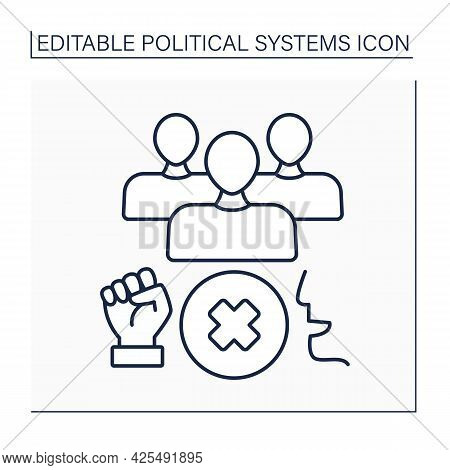Authoritarian Regime Line Icon. Government Form. Control By One Person Or Group Of People. Authorita