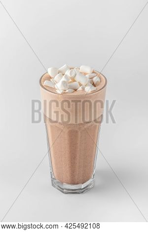 Transparent Glass With Raf Coffee Decorated By Marshmallow Made With Espresso, Frothed Milk, Cream,
