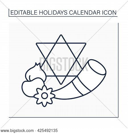 Yom Kippur Line Icon. Annual Jewish Holiday. Atonement Day. Jews Wear White And Leather Shoes Are Fo
