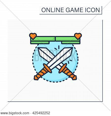 Fighting Game Color Icon. Crossed Swords. Fight In Hand-to-hand Combat Between Rivals. Limited Space