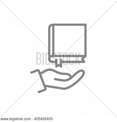 Book Over Hand Line Icon. Giving Book, Save Library Symbol