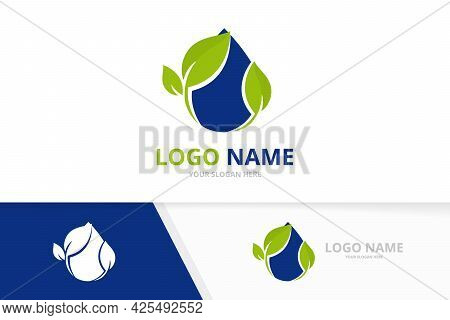 Organic Droplet Logo Combination. Water Delivery Logotype Design Template.