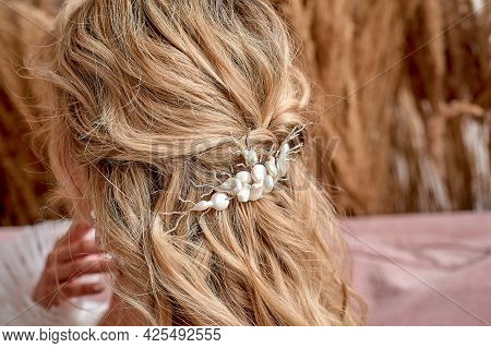 The Brides Hair, Hairdressing. Blonde With Curly Hair.