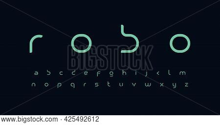 Future Font Alphabet. Minimal Lowercase Letters. Smart Space Typographic Design For Technology It Co
