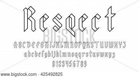 Set Of Alphabets Font Letters And Numbers Elegant Antique Vintage Blackletter Concept Vector Illustr