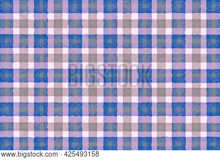 Blue Pink Lilac Checkered Old Vintage Background With Blur, Gradient And Grunge Texture. Classic Che