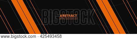 Black Abstract Wide Horizontal Banner With Orange And Gray Lines, Arrows And Angles. Dark Modern Spo
