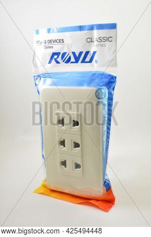 Manila, Ph - July 1 - Royu Three Gang Electrical Outlet On July 1, 2021 In Manila, Philippines.