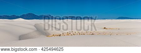 Panorama Of White Sands And The San Andres Mountains In New Mexico