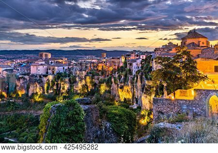 Cityscape Of Cuenca At Sunset In Castile - La Mancha, Spain