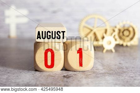 August 1 Text On Wooden Blocks, Business Concept.