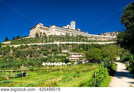 The Sacro Convento, A Franciscan Friary In Assisi. Unesco World Heritage In Italy