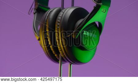 Russia, Moscow - May 5, 2021: Monitor Headphones. Action. Beautiful Design Of New Model Of Headphone