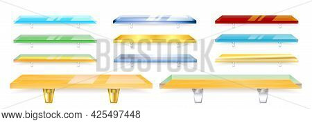 Set Of Realistic Glass Shelves Isolated Or Transparent Glass Shelves Bar For Shop, Office, Library O