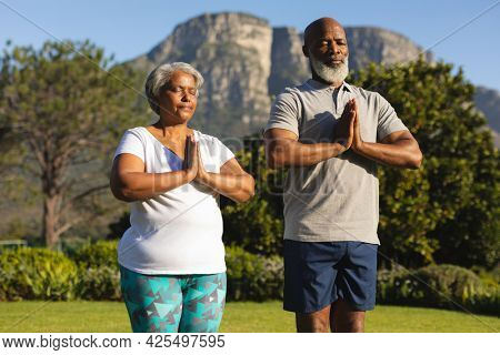 Senior african american couple meditating and practicing yoga with eyes closed in countryside. retirement and active senior lifestyle concept.