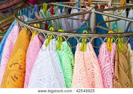 Knitting cloth in the market