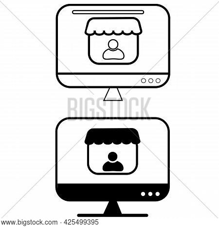 Merchant Sign. Merchant Icons For Online Store. E-commerce And Shopping Symbol. Shopping Online Logo