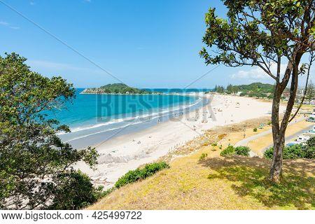 Summer View Along Main Beach Of Mount Maunganui , Tauranga New Zealand.