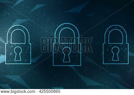 Closed Padlock On Abstract Technology Background, Technology Security Concept. Protection System, Cy