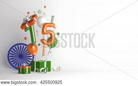 Happy Independence Day Of India Decoration Background With 15 Balloon Number Ashoka Chakra, Gift Box