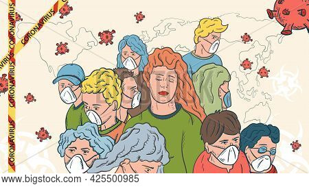 Banner Illustration For Design Design, The Sars-cov-2 Corona Virus, A Crowd Of Masked People And A G