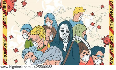 Banner Illustration For Design Design, The Sars-cov-2 Corona Virus, A Cluster Of Masked People In Th