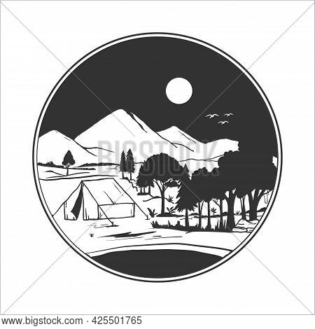 Silhouette Camping Badge. Vector Illustration Of Camping In The Wild Mountains. Forest Camping Logo