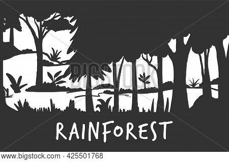 Rainforest Silhouette, Tropical Forest Vector Illustration. Tropical Landscape Black Silhouette. Exo