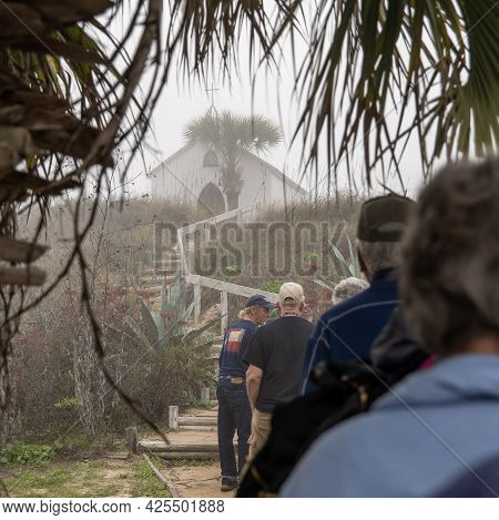 Port Aransas, Tx - 21 Feb 2020: Tour Of The Chapel On The Dunes, A Small Building On The Top Of A Du