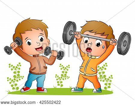 The Couple Of Boys Are Doing Weightlifting With The Barbell In The Yard Of Illustration