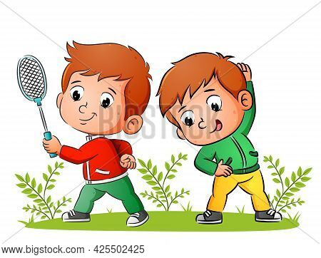 The Couple Of Sporty Boys Are Doing Badminton And Stretching In The Morning Of Illustration