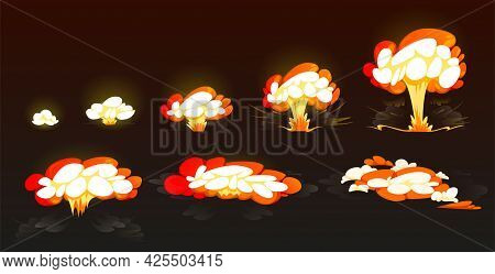 Cartoon Bomb Explosion Storyboard, Animation Frame For Mobile Game. Nuclear Cloud, Boom Effect, Smok