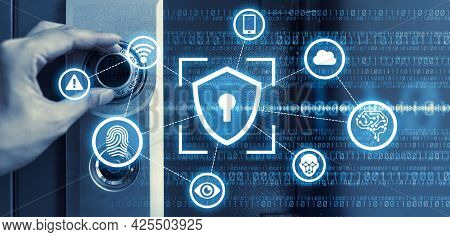 Data Protection Cyber Security Privacy Business Internet Technology Concept.