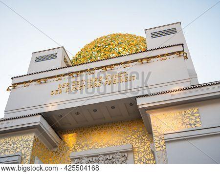 Secession Building Golden Dome In Vienna, Austria Also Called Wiener Secession - With Inscription 't