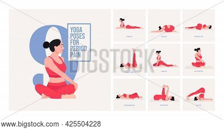 Yoga Poses For Period Pain. Young Woman Practicing Yoga Pose. Woman Workout Fitness, Aerobic And Exe