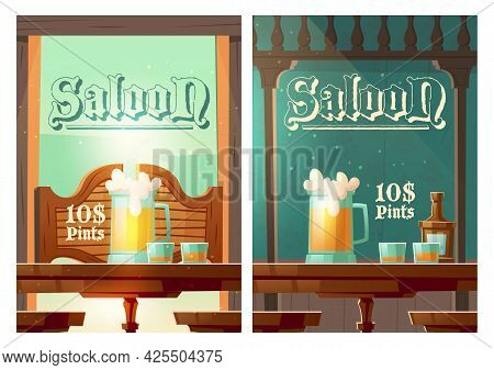 Cowboy Saloon Cartoon Banner, Glass Tankards With Foamy Beer And Shots With Alcohol Drinks Stand On