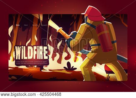 Wildfire Landing Page With Burning Forest And Fireman At Night. Vector Banner Of Wild Nature Disaste