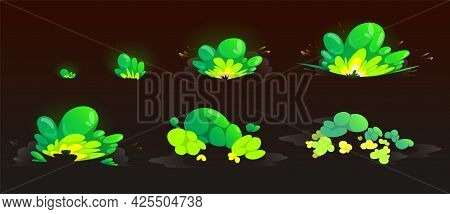 Green Burst Sprites For Game Or Animation. Vector Storyboard Of Cartoon Explosion With Color Clouds.