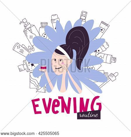 Korean Evening Face Skincare Routine With Lettering. Young Woman Smears Cream On Her Face. Vector Il