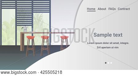 Modern Kitchen Interior Empty No People House Room With Furniture Horizontal Copy Space