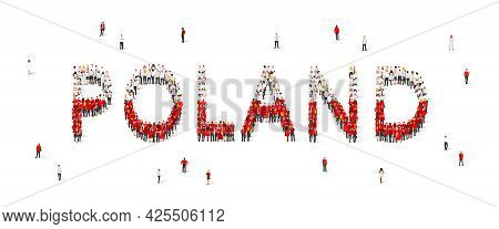 A Crowd Of People Are Standing In White And Red Robes, Making Up The Word Poland. Poland Flag Made O