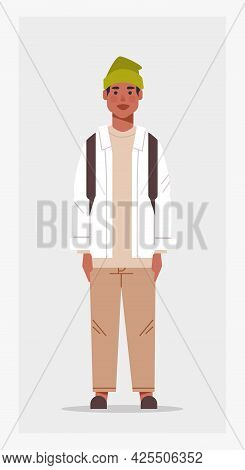 Casual Man With Backpack Male African American Cartoon Character Standing Pose Full Length